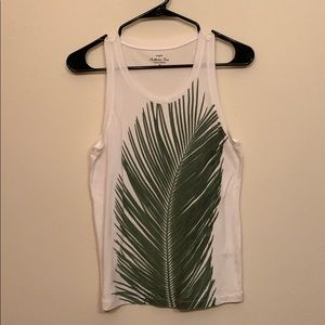 J. Crew white tank top with palm leaf.